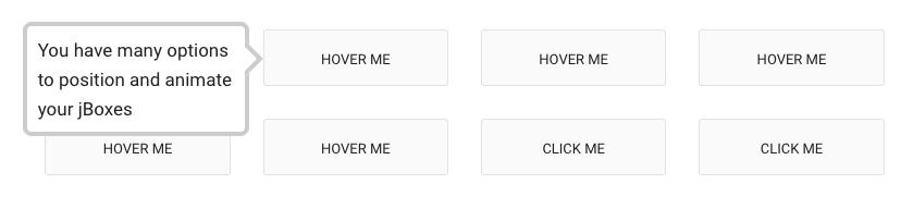 Это скриншот всплывающей подсказки, которая гласит: «У вас есть много вариантов позиционирования и анимации ваших jbox». Это плагин подсказки jquery, который полностью отзывчив.