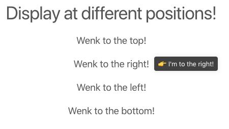 Это скриншот демонстрации всплывающей подсказки. В подсказке написано, что я справа, и в ней есть смайлики. Это показывает, что эта подсказка CSS может отображаться в разных позициях.