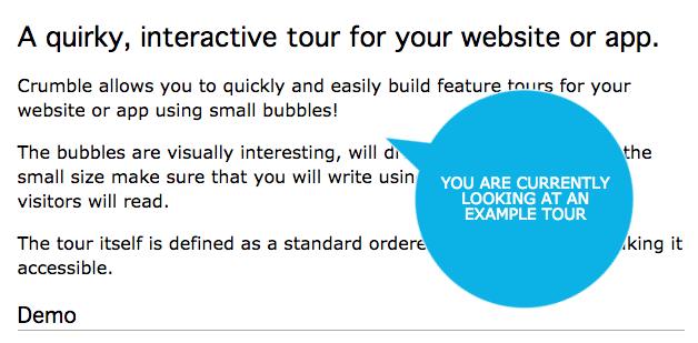 Это интерактивный обзор возможностей для веб-сайтов или приложений, созданных с помощью плагина jquery с открытым исходным кодом. Подсказка выполнена в форме пузыря.