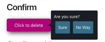 это пример снимка экрана со всплывающей подсказкой, которая появляется при нажатии на кнопку и имеет две кнопки для подтверждения или отмены. Эта подсказка запроса поддерживает HTML-контент.