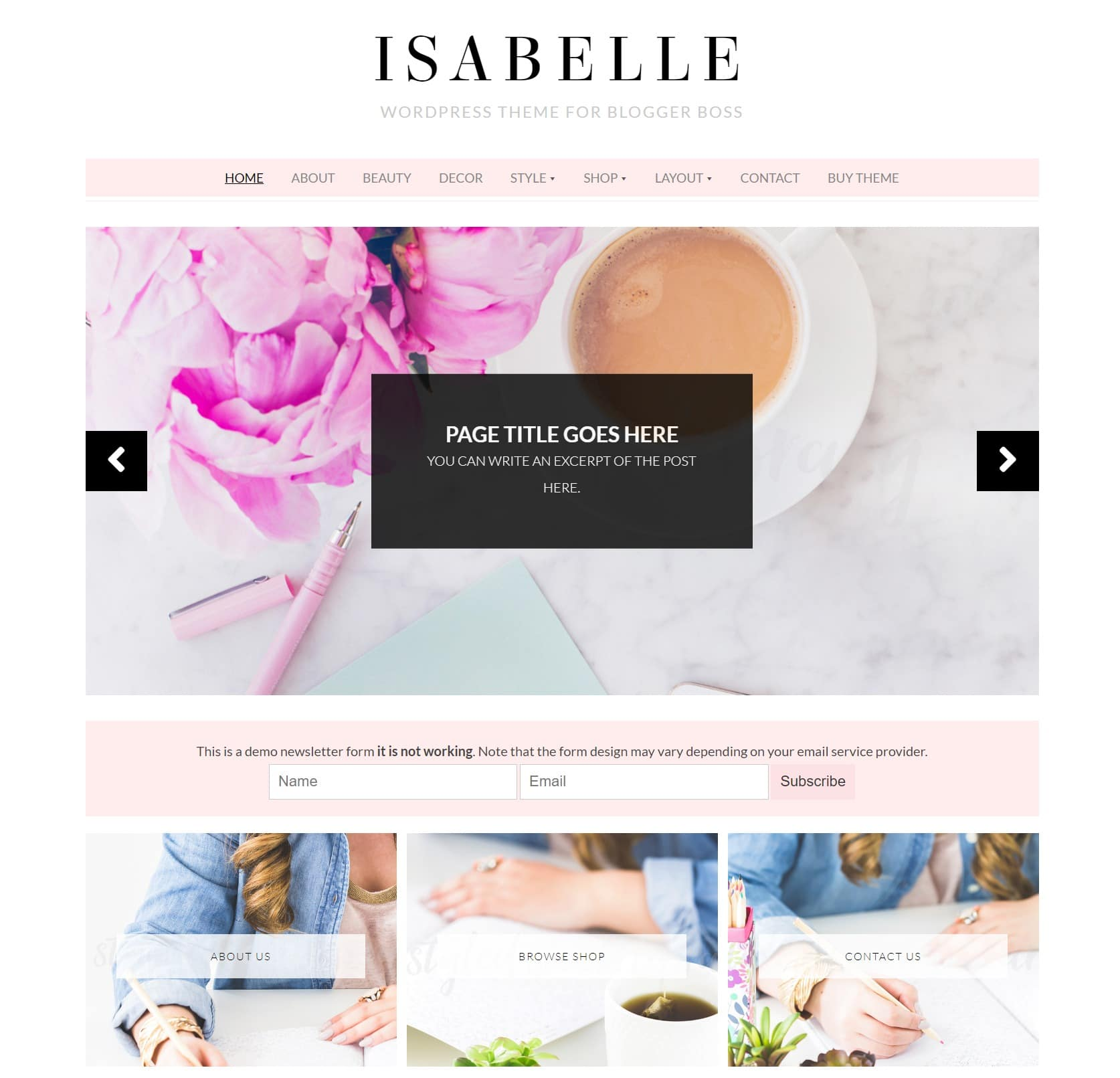 Изабель - WordPress Theme для образа жизни Blogger Boss