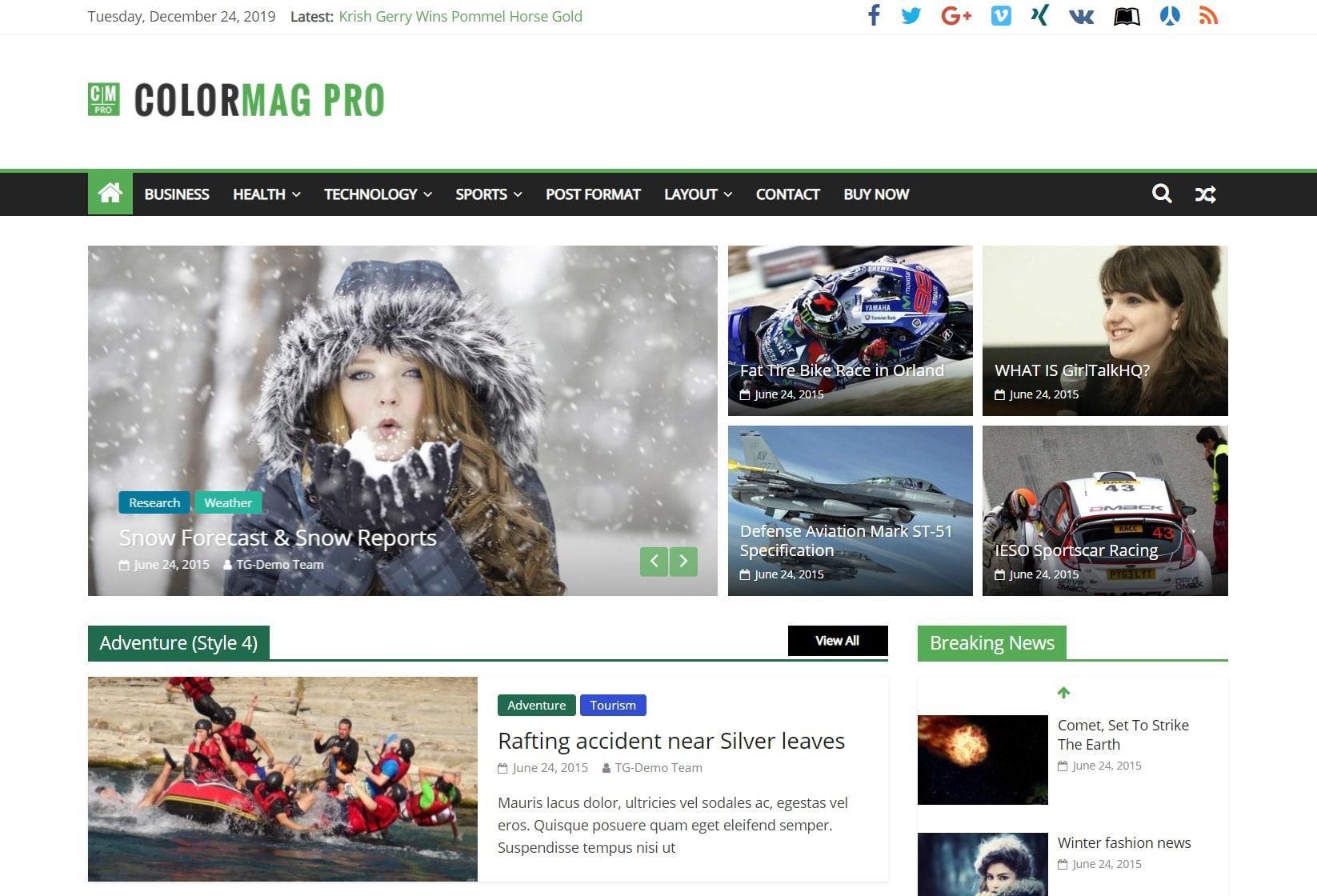 ColorMag стиль жизни WordPress тема