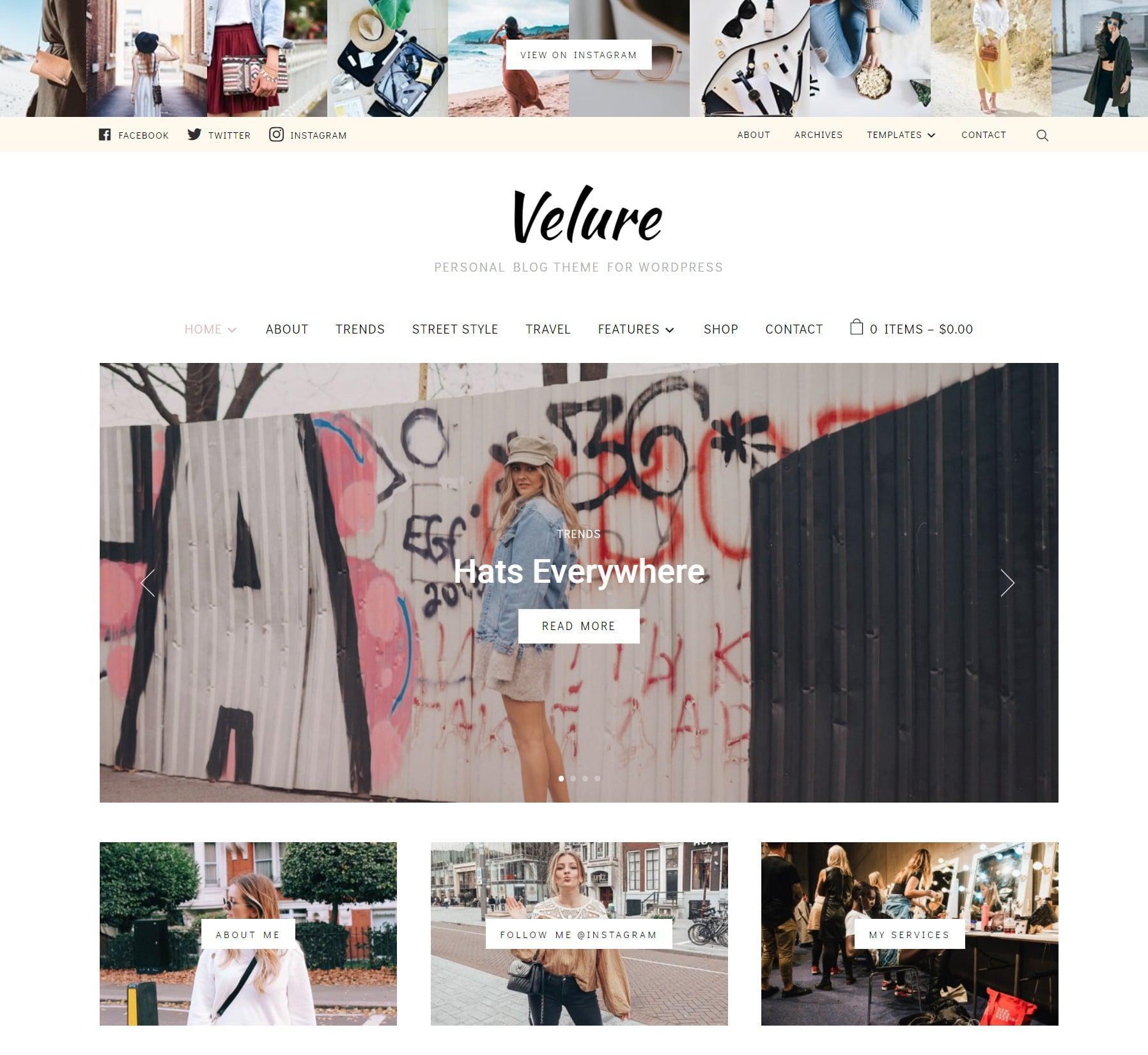 Velure - блог-тема для WordPress