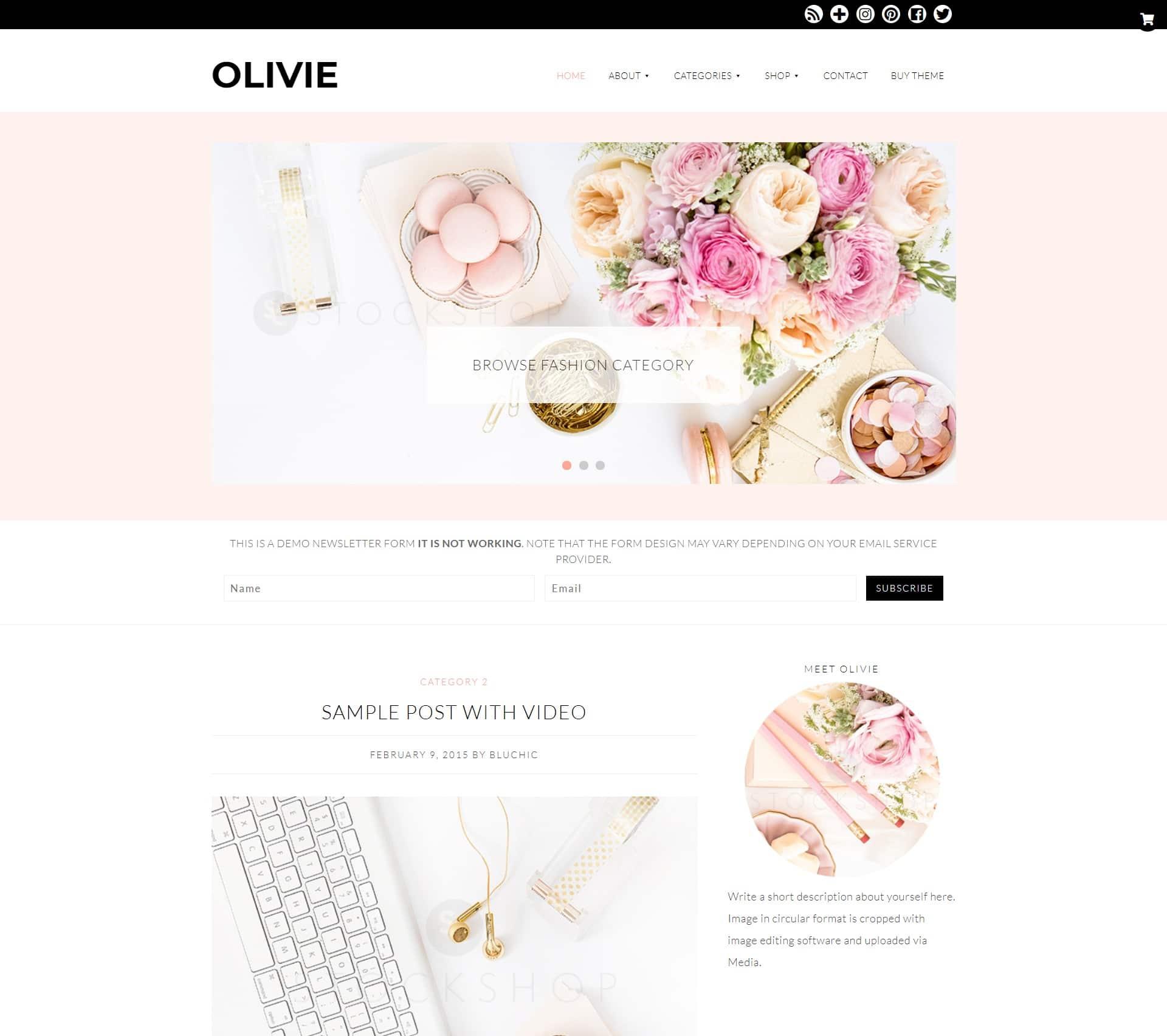 Оливия - женская тема WordPress для блоггеров женского образа жизни