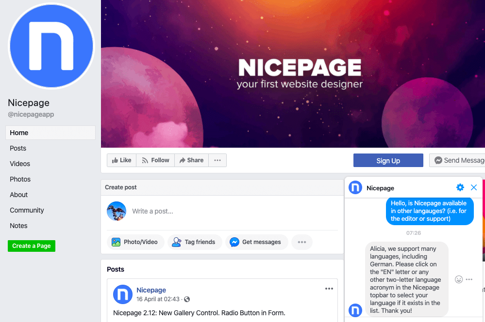 Nicepage Facebook чат