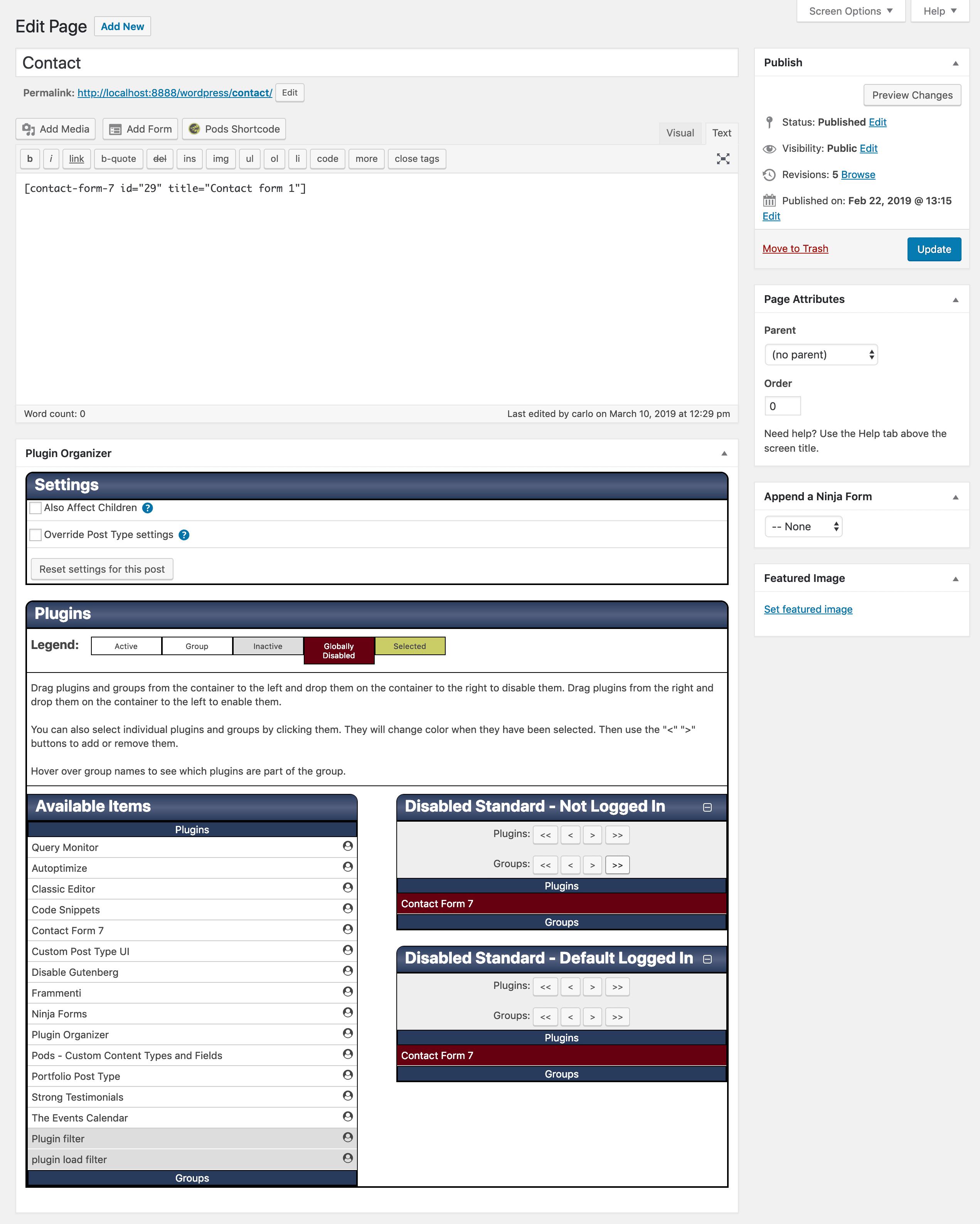 Плагин Организатор пользовательских метабоксов на странице контактов
