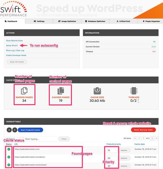 Рекомендуемые настройки производительности Swift для ускорения работы вашего сайта - плагин WordPress Cache (Руководство 2020) (используйте код: WPBM40, чтобы получить скидку 40%) 8