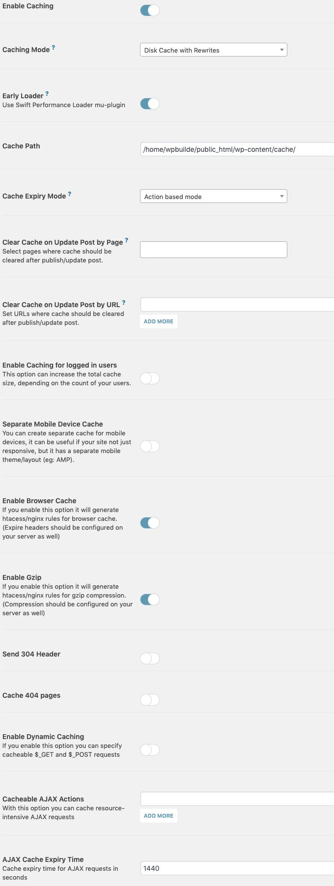 Рекомендуемые настройки производительности Swift для ускорения работы вашего сайта - плагин WordPress Cache (Руководство 2020) (используйте код: WPBM40, чтобы получить скидку 40%) 19
