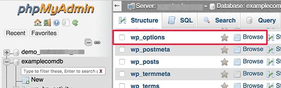 Таблица параметров WordPress