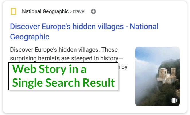 Скриншот одной веб-истории в результатах поиска