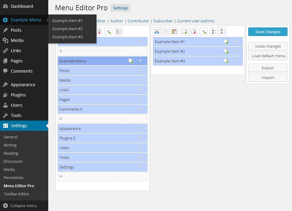 Как настроить меню администратора WordPress