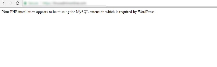 Исправьте установку PHP, в которой отсутствует ошибка расширения MySQL