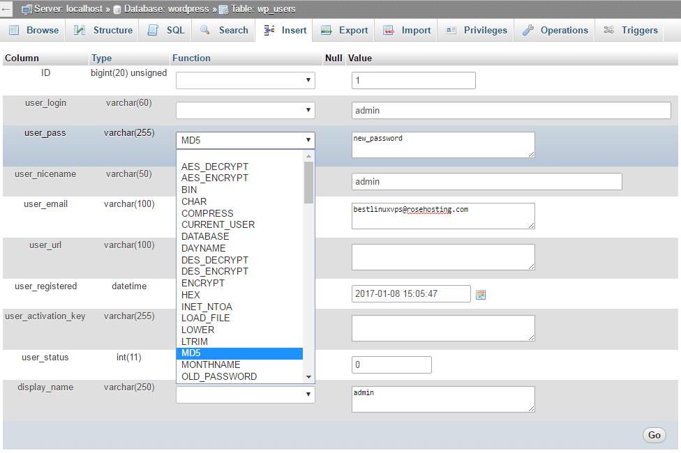 Как изменить пароль WordPress с phpMyAdmin?