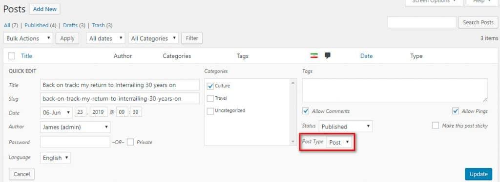 Как изменить тип записи в WordPress?