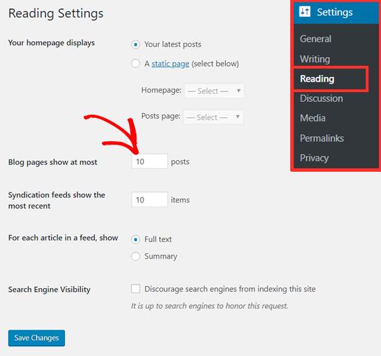 Изменение количества сообщений, отображаемых на странице блога WordPress