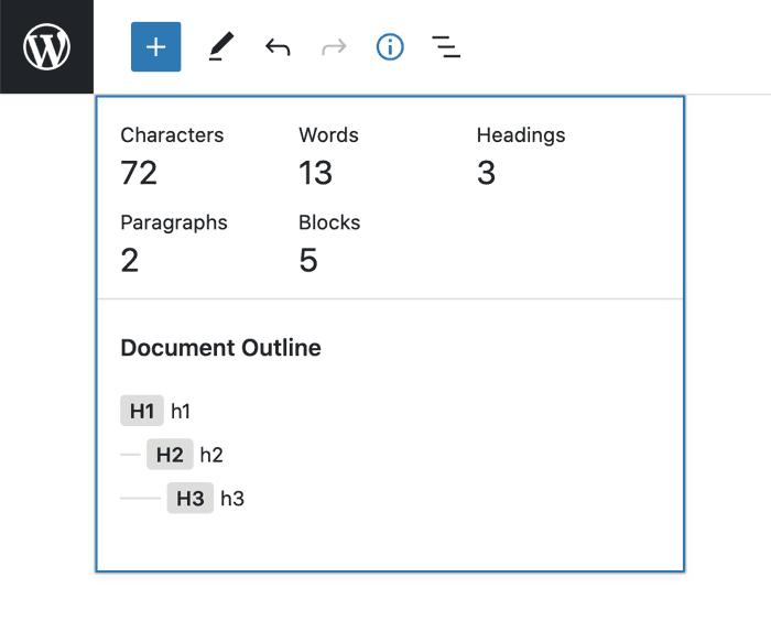 Скриншот информационной панели, которая может быть изменена в будущей версии Gutenberg