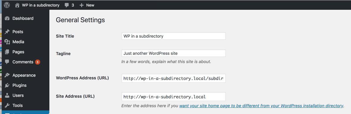 Перемещение корневой установки WordPress в подкаталог для установки и наоборот