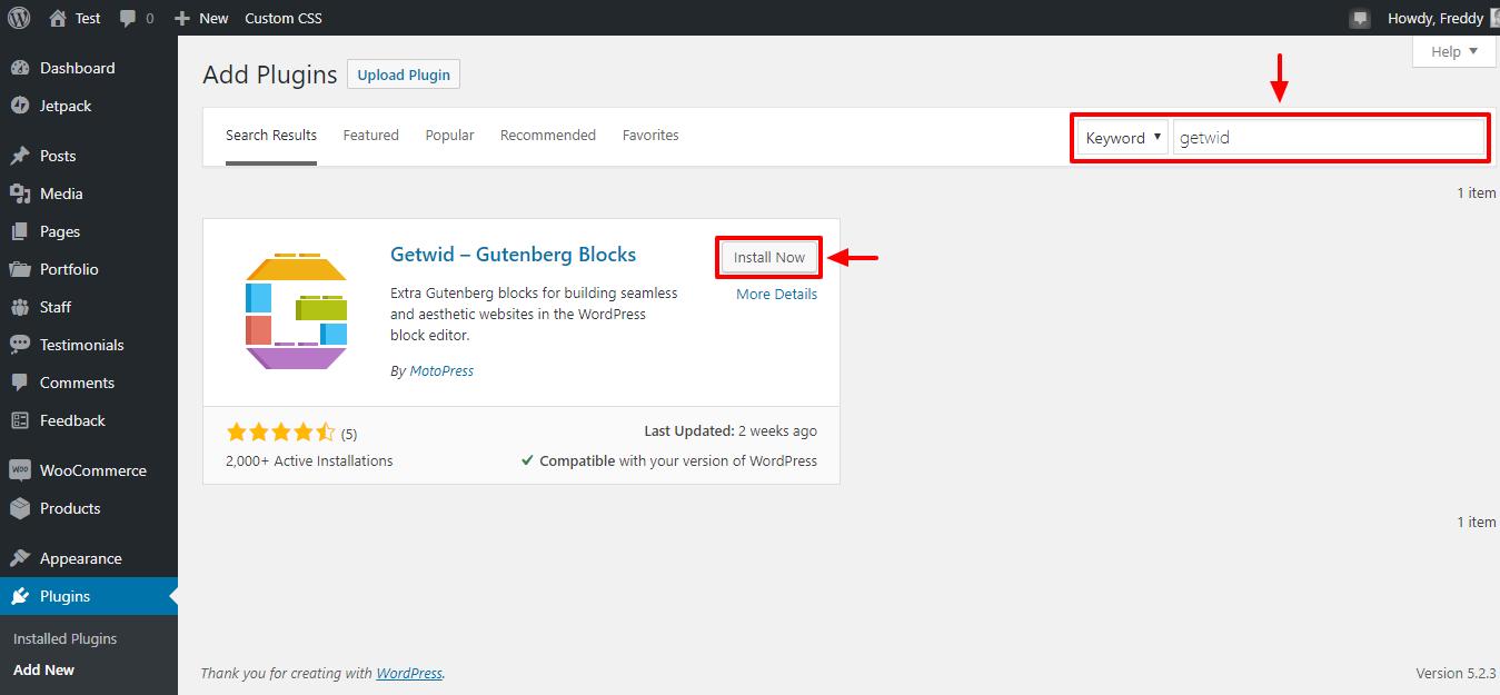 Getwid - настраиваемые блоки WordPress для Гутенберга