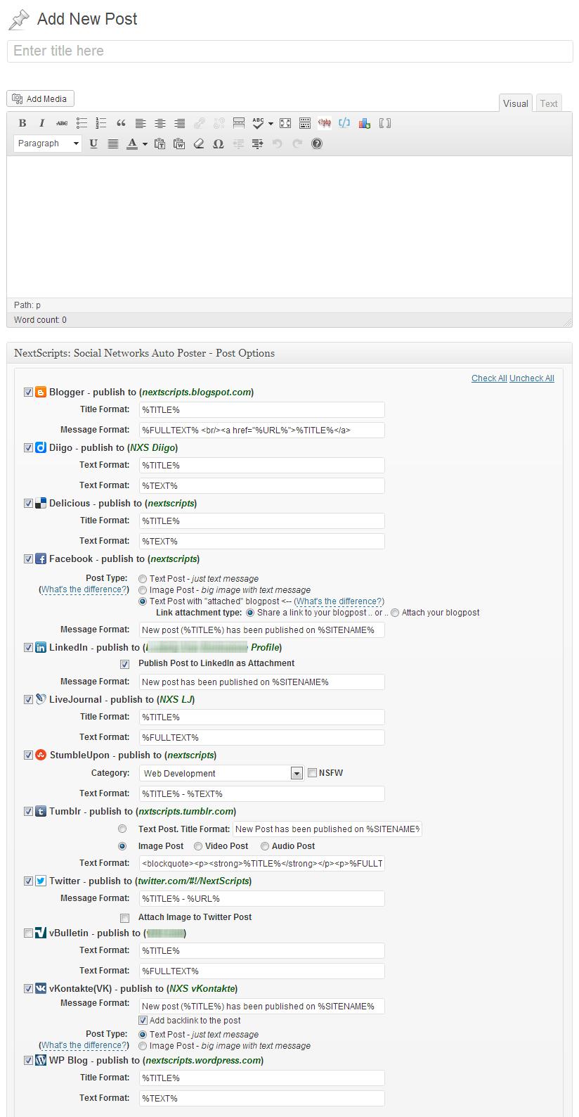 Автоматическая публикация сообщений WordPress в социальных сетях с помощью SNAP