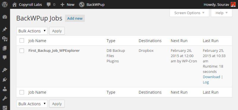 Резервное копирование WordPress в облако с помощью BackWPup - подробное руководство