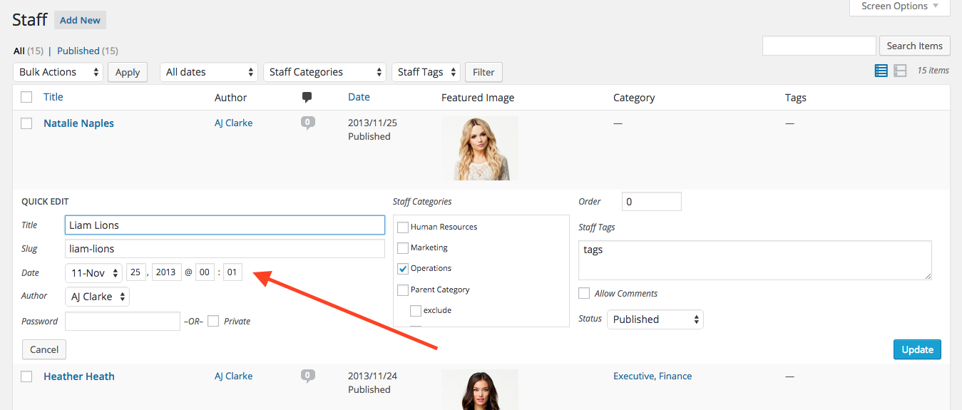 Как изменить порядок сообщений произвольного типа в WordPress