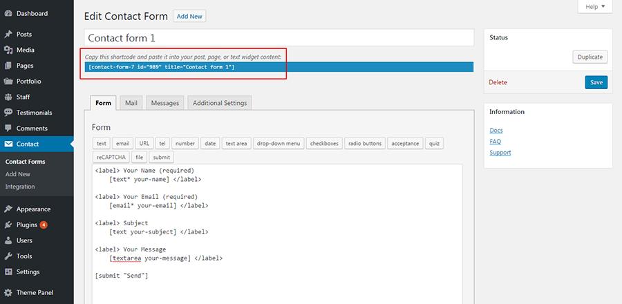 Как добавить контактную форму в WordPress